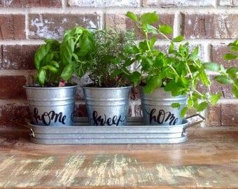 Metal Pots-Set of Three-Garden Pots-Apartment Garden-Herb Pots/Home Sweet Home