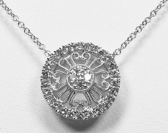 14k white gold diamond pendent, necklace.