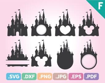 Castle SVG, Palace SVG, Magic Castle SVG, Disneyland Svg Files, Magic Castle Monogram Svg, Cartoon Monogram Svg, Split Pdf, Instant Download