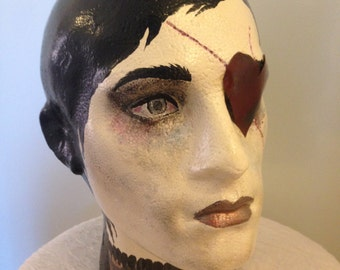 Male mannequin head Alice in Wonderland Knave of Hearts theme