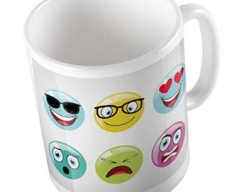 Colorful crazy emoji smiley mug