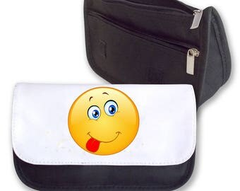 Emoji TONGUE OUT Smilie Pencil Case / Clutch or Make up Bag