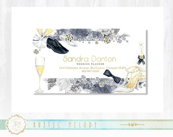 Premade Business Card, Gold Business Card , Wedding Business Card, Thank You Card, Events Card, Appointment Card, Floral Card