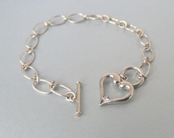 Sterling CZ Heart Bracelet Charm 925 Silver Love Token Cubic Zirconia Gift For Her  UK