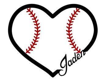 Heart of Baseball - Custom Name - svg file