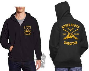 CHASER - Huffle Quidditch team Chaser Yellow print printed on Black Zipper Hoodie