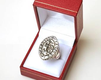 Knights Templar Abraxas Seal Ring Heavy Solid Sterling Silver
