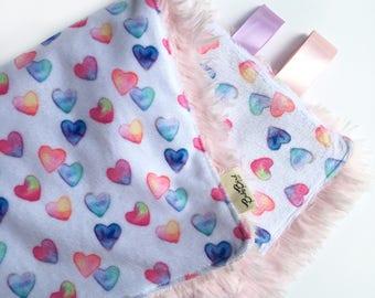 Heart Lovey / Minky Blanket / Baby Girl Blanket / Snuggle Blanket / Security Blanket / Baby Shower Gift