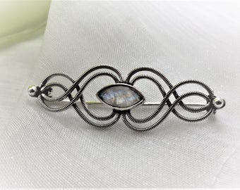 Beautiful Rainbow Moonstone Gemstone Sterling Silver Brooch