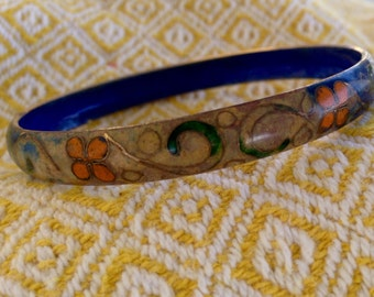 Vintage Cloisonné Bangle // Old Cloisonne Bracelet // Floral Cloisonné Blue Orange Green Enamel on Brass