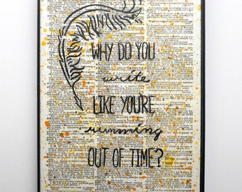 Hamilton Musical Lyrics 5x7 Quote Wall Decor, Why Do You Write Like You're Running Out of Time, College Dorm Decor, Wall Art