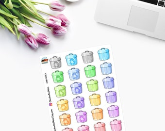 KAWAII Trash/Recycling Bins Planner Stickers - CAM00163