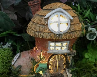 Miniature Mini Fairy House Boot - Lights Up!