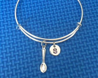 spoon initial Bracelet, spoon Bracelet Bangle, chef Gift, chef Jewelry, CP36