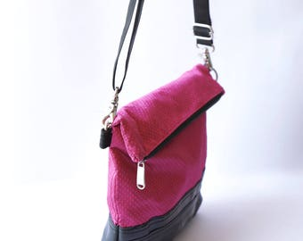 Recycled Inner Tube Vegan Fold Over Clutch Bag- Pink