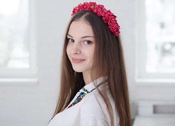 Vinok / rose flower crown / ukrainian headband / red roses floral crown / ukrainian vinok / flower headband adult / red / rose / berry