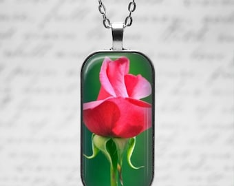 Red Rose Pendant with 24 inch chain necklace