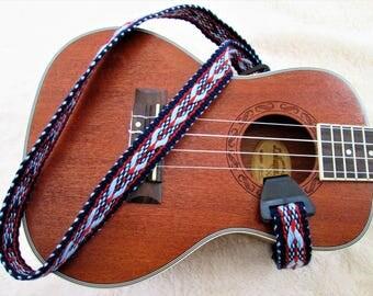 Handwoven Ukulele Strap, Options: Ukulele Neck Strap or Handcut Leather Ends, free Leather Headstock Strap Holder or Banjolee Adapters