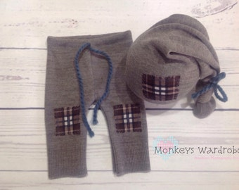 Boys 'Preston' newborn pant & hat set.