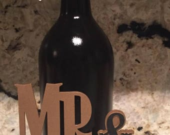 Mr and Mrs wedding or anniversary wine bottle
