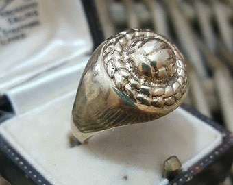 Vintage 1967 solid silver men's ring, gold plated, size s1/2