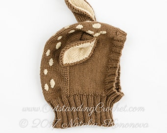 Baby Deer Knitting Hat Pattern - Balaclava Pattern - Coverall Hat with Neck Warmer with Ears - Baby - Kids - Adult Sizes - PDF