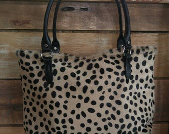 Cheetah print cowhide tote bag!