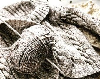 Light graphite Aran cable cardigan hand knit