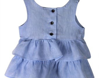 Baby blue frilly linen top