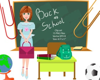 Back to school clipart School clipart Educational clipart School supplies clip art Student Girls Teacher Boy School design Commercial use