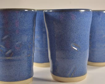 Blue Tumblers Ceramic, Pottery Tumblers, Clay Tumblers, Water Cups Ceramic, Drinking Glasses, Blue Glaze, Set of Four, Individually made.