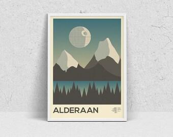 STAR WARS - ALDERAAN, planet print, travel poster, movie poster, minimalist, fan art
