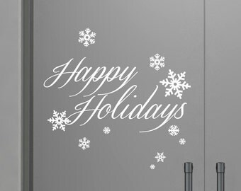 Happy Holiday decal, Happy Holiday sticker, Snowflake decal, Snowflake Sticker, Holiday Decals, Holiday Stickers, Christams stickers,