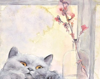 Cat No8 family water color