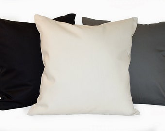 Solid Color Pillow Cover with Zipper Closure, Black Twill Pillow Cover, Gray Twill Pillow Cover, Natural Twill Pillow Cover