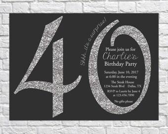 40th Birthday Invitation, Adult Birthday Party Invitation, Surprise Birthday Invitation, Glitter Invitation, Simple Invitation, Adult Party