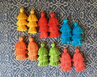 Tiered Tassel Earrings, Fringe Tassel Earrings, Stacked Tassel Earrings, Tassel Stack, Fringe Drops