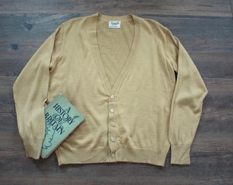 SOLD In store June 22/17 Vintage 1950s Cardigan 50s 60s Pale Mustard Yellow Wool V Neck Sweater // Rockabilly Cardigan