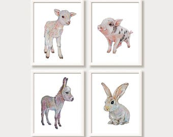 Farm Animal Prints for Nursery Farm Nursery Wall Art Baby Animals Watercolor Farmhouse Nursery Decor Set of 4 Prints Bunny Donkey Pig Lamb