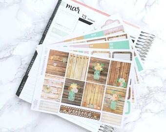 Final Sale // Rustic Romance DELUXE Kit Planner Stickers - For Erin Condren Vertical Life Planner