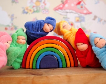 Six rainbow dolls, Waldorf dolls, tiny baby doll, colourful dolls, Colours of the rainbow, Natural toys, handmade doll, baby dolls
