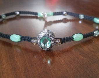 Marcasite-like & Glass Jade Colored Choker