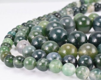 Natural Green Moss Agate Gemstone Beads Gemstone Round Beads 6mm,8mm,10mm,12mm Natural Stones Beads Healing chakra stones for Jewelry Making