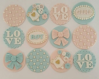 12 x Baby Shower Cupcake Toppers - Fondant Handmade