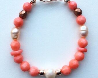 Coral pink coral beads, bracelet, rose gold bracelet