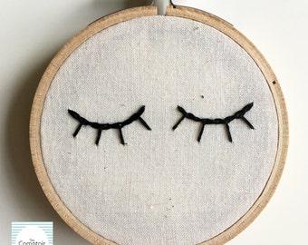 Eyelash Embroidery Hoop // Handmade