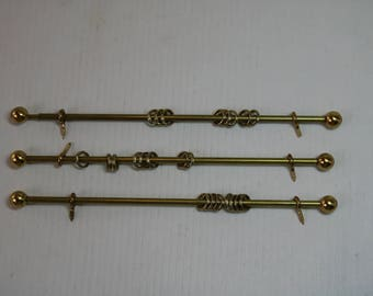 Dollhouse Miniature Set of 3 Brass Adjustable Curtain Rods with Eye Screws & Rings (1/12 Scale)