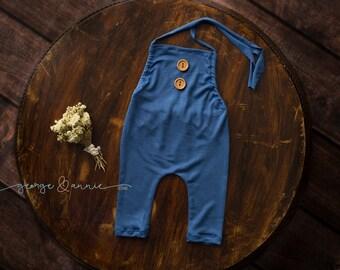 Flynn Little Boy Romper in Mid Blue - Newborn, 6-9 Months or 12 Months - Photography Prop