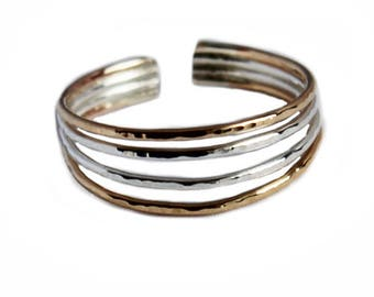 Four Strand Adjustable Toe Ring in Sterling/Gold Fill or Sterling Silver with Hammered Finish - or wear as a Midi Ring