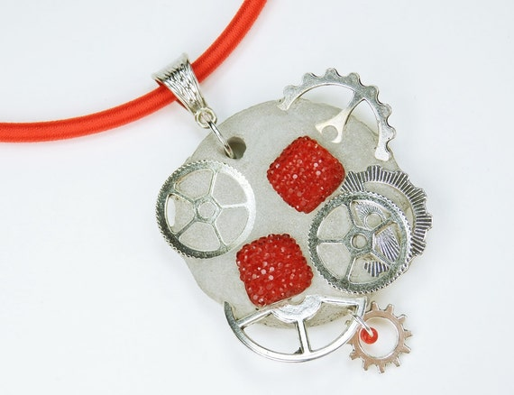 Necklace Glamour steampunk with red stone concrete jewelry on red silk ribbon concrete silver wheels Red Pearl concrete Jewelry